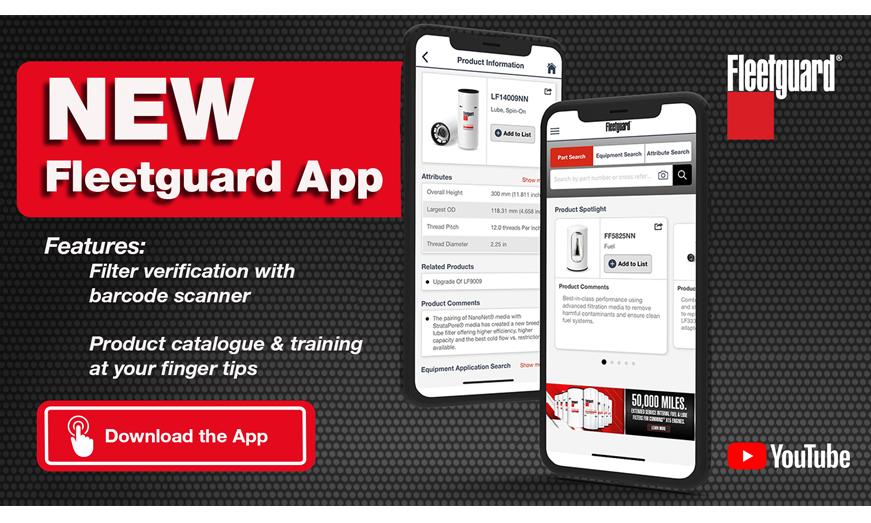 """Nueva aplicación Fleetguard """"App Filtración"""""""